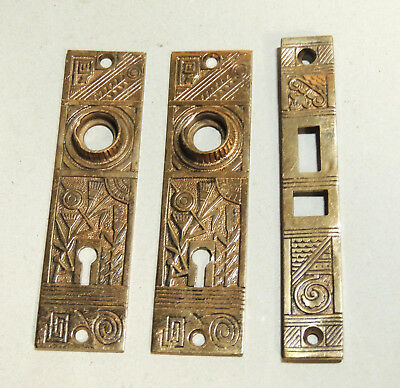 c1880s Victorian Aesthetic Antique vtg DOOR KNOB PLATES Brass/Bronze Hardware