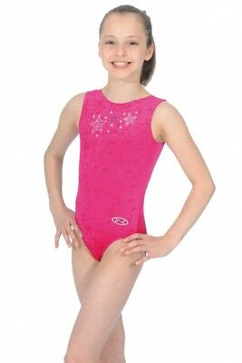 The Zone Stellar Star Jewel Short Sleeve Velour Gymnastics Leotard Pink