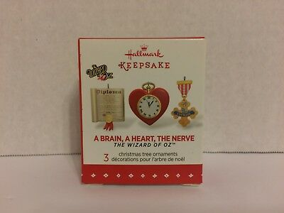 HALLMARK Keepsake MINIATURE Ornament 2015 Brain Heart Nerve WIZARD OF OZ 3 NIB