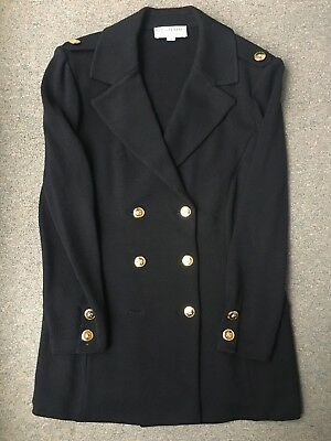 St John Collection Marie Sz 14 Black Santana Knit Double Breasted Blazer Jacket