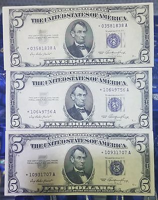 1953 Five Dollar $5 Blue Seal Silver U.S. Certificate STAR NOTE Lot of Three (3)