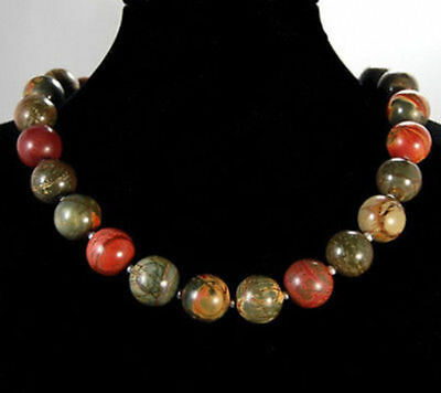 "8 10 12 14mm Multicolor Picasso Jasper Gemstone Round Beads Necklace 18"" AAA"
