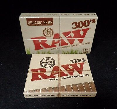 """Raw 300's Organic Hemp Rolling Papers 1.25""""/ 300 Papers +Tips **Free Shipping**"""