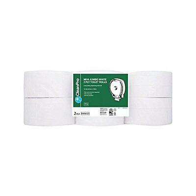 Clean Pro 12 mini-rouleaux Jumbo Toilet Roll 2 Ply White