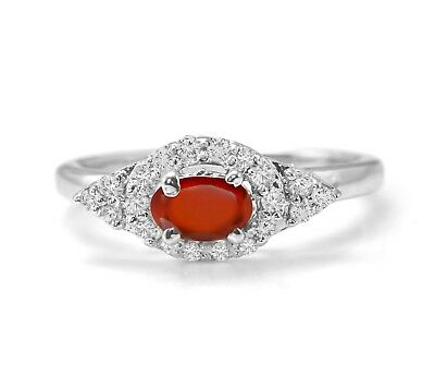 Hessonite Garnet Sterling Silver Ring Orange Natural Gemstone Halo Size 4 -11