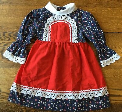 Vintage SEARS Girls Size 5 Blue, Red & White Long Sleeve 1950/60s Dress