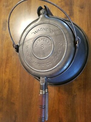 "Antique ""WAGNER"" MFG Co Ware Cast Iron #8 High Tall Base Waffle Iron 1910"