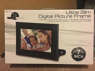 "Black Digital Decor Picture Frame, 7"" Ultra Slim, With Remote"