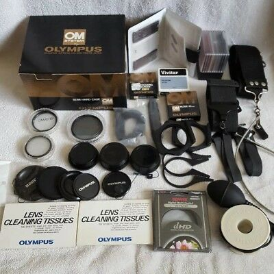 Mostly Olympus OM-System Accessories Lot Case Caps Filters Straps Cords + Extras