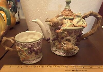Fitz and Floyd Teapot and Cup, Grape Vines, Lattice, Birds