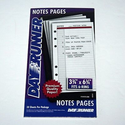 Day Runner Loose Notes Pages - Item 013-200 - 30 Sheets - Sealed A34, 6 Ring