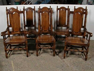 Set 8 English Elizabethan Tudor Oak Dining Chairs Chair