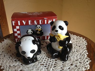 Black and White Pandas  Salt and Pepper Shakers NWT in Box