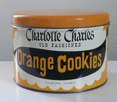 RARE Vintage Crackers Wafers Biscuits Tin Can ~ Charlotte Charles Orange Cookies