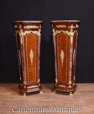 Pair French Empire Pedestal Stand Tables Columns