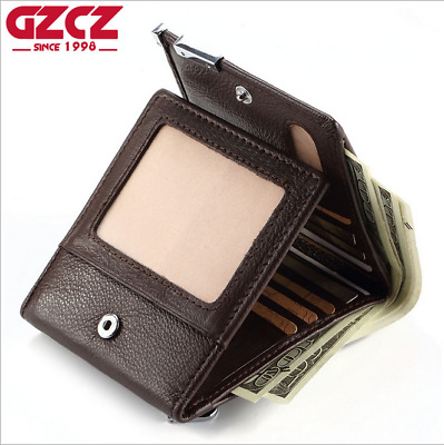Men Genuine Leather Cowhide Trifold Wallet Credit Card ID Holder Coin Purse New