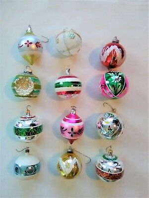 Lot of 12 Vintage Glass Christmas Ornaments by Shiny Brite Made in USA - VGC