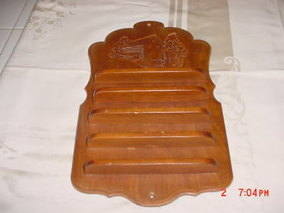 Vintage Wooden Grist Mill Water Wheel Wall Thimble Rack Holds 35 Thimbles
