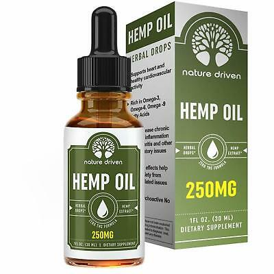 Hemp Oil Extract 250mg Pain Relief Anti Anxiety Support All Natural CBD Weed New