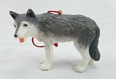 Resin White and GRAY WOLF Christmas Ornament Figurine