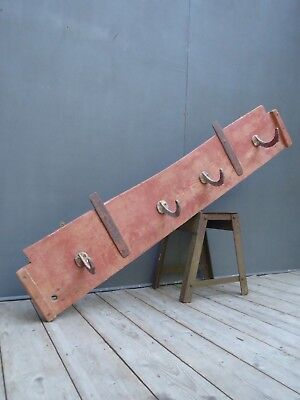 Early Antique Vintage Industrial Pine & Iron Farmhouse Coat Hooks Rack