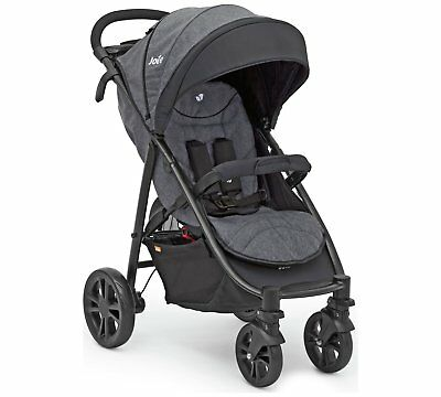 Joie Litetrax 4 Wheel Stroller Pushchair Grey and White With Raincover