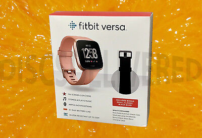 Sealed Fitbit Versa Smartwatch Rose Gold Small, Large Bands + BONUS GIFT!