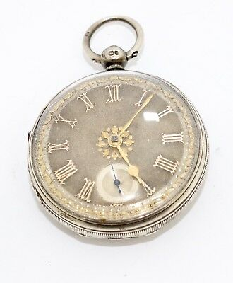 Fantastic Antique C1863 Solid Silver Fusee Gold Silver Dial Pocket Watch #10799