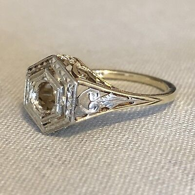 Antique Art Deco 14K Yellow & White Gold Filigree Ring Setting Mount Size 5.75