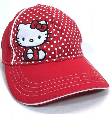 HELLO KITTY by Sanrio Embroidered Red Ball Cap KIDS Japanese Cartoon Hat Lid 8de59f6cfd7e
