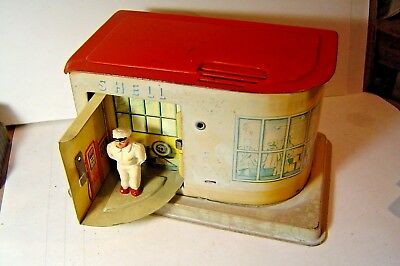 Vintage W. Germany Tin Toy (  MS SHELL Gas Station  ) Mechanical Bank with Key.