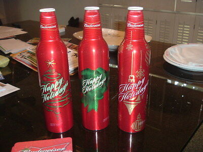 3 Budweiser Holiday Aluminum Cans Empty plus Coasters Christmas
