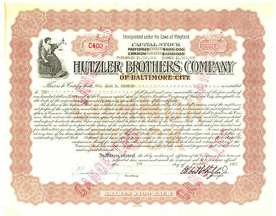 Hutzler Brothers Company of Baltimore City. Stock Certificate 1952