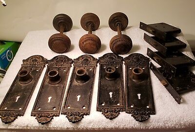 Sargent & Co Cast Iron 5 Back Plates Knobs Mortise Easy Spring Locks