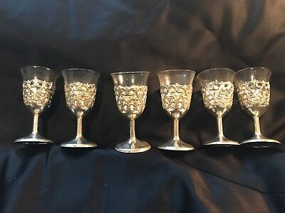 "6 Silverplated Etched 4"" Goblets w glass insets Japan Marked Silverplate"