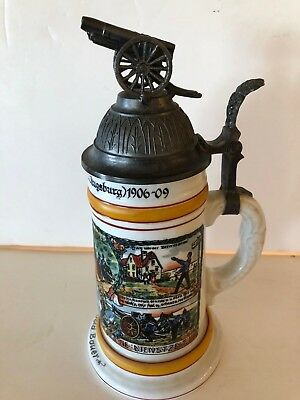 RARE German Germany Military Stein; Handgemalt; Highly Decorated; Near Mint!!