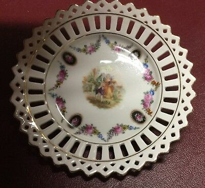 Vintage Schumann Bavarian Reticulated Dish Victorian Couple Surrounded By Flower