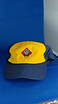 Cub Scout Wolf Hat Navy Blue Yellow Cap BSA Youth Hat Snap Back S/M Small Medium