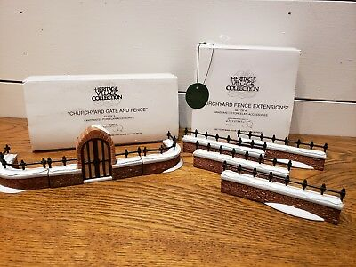 Snow Village ~ Department 56 * LOT * Churchyard Gate and Fence & Extensions  MIB