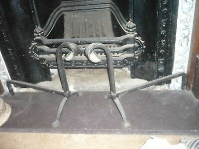 Antique pair of huge quality cast iron attractive heavy fire dogs quality
