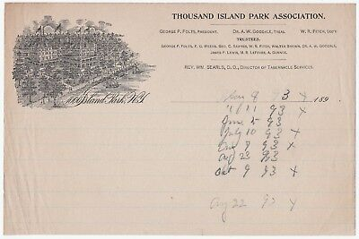 RARE Advertising Billhead Letterhead  1890 Thousand Island Park Association 1000