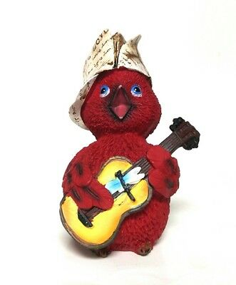 Red Robin American Bird Figurine Guitar Playing With Hat T. Migratorius Species