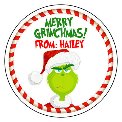 The Grinch Christmas Stickers Labels Tags Personalized VARIETY OF SIZES