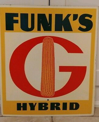 Vintage 1950's Funk's G Hybrid Seed Corn Farm Large Sign Masonite