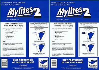 100 Mylites2 SUPER GOLD 2 mil Archival Mylar Comic Bag Sleeves by E.Gerber 825M2