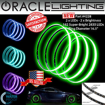"ORACLE Illuminated Rim 16.5"" *DOUBLE* LED GREEN Wheel Rings - Waterproof - 4228"