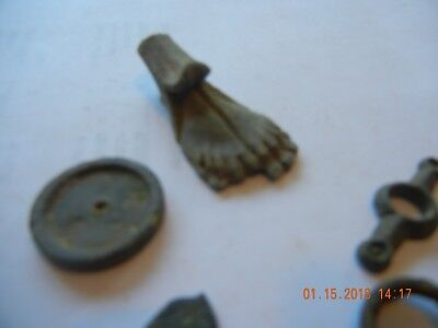 Metal detector find lot of unknown dug pieces appear bronze Roman