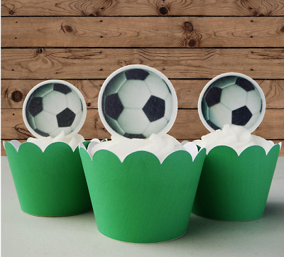 Soccer Balls Edible Cupcake Cake Toppers Decorations #701