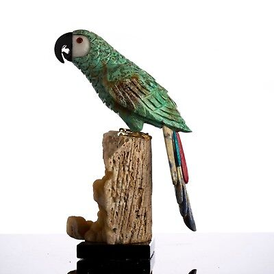 Handmade Macaw Parrot Bird Sculpture Chrysocolla Gemstone Crystal Carving 🐦