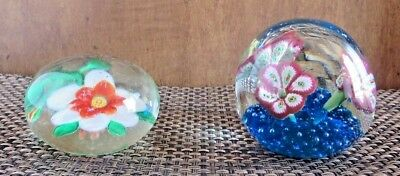 Flowers Glass Paperweights Domed Colorful & Bright Lot of (2) Vintage Pieces